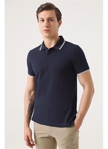 TWN Twn Slim Fit Vizon Pike Dokulu T-Shirt Lacivert